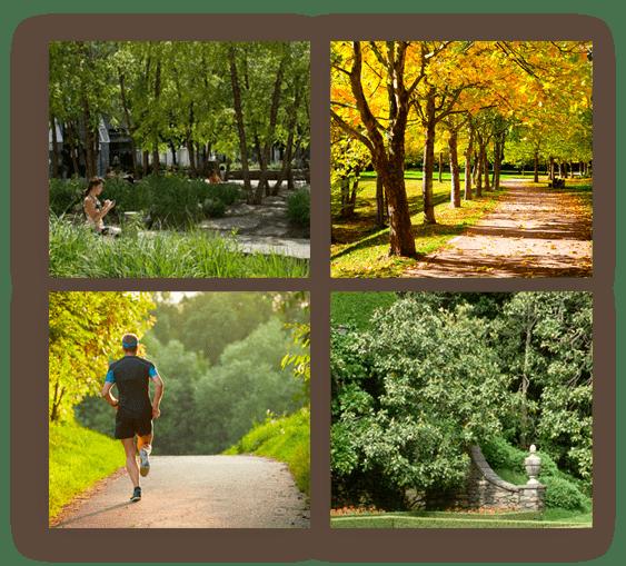 Steps away from an all season recreational park